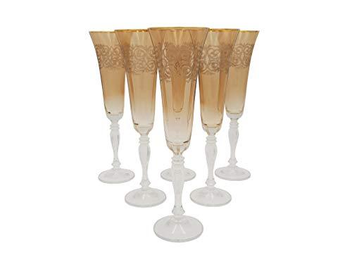 Bohemia Kristall Gläser, Model Victoria, Gold Gravur, Bernstein (Sektgläser 6 x 180 ml)