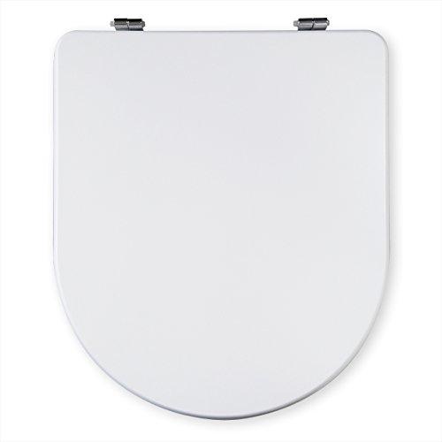Tapa Wc Compatible | MARINA GALA HORIZONTAL | Asiento Inodoro Madera y Plástico | Bisagra Metálica | Fácil Instalación y Limpieza | Blanco Brillante