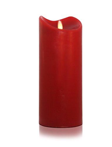 Tronje 18cm Rot LED Echtwachskerze LED Kerze mit Timer D: 9cm bewegter beleuchteter Docht ca. 800 Std. Leuchtdauer