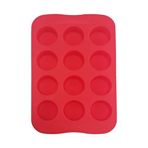 Vassoio per cubetti di ghiaccio rotondo, 6,3 × 4 pollici 12 fori Vassoi per cubetti di ghiaccio rotondi portatili antiaderenti in silicone, da utilizzare per fare torte, cioccolato, budino, rosso