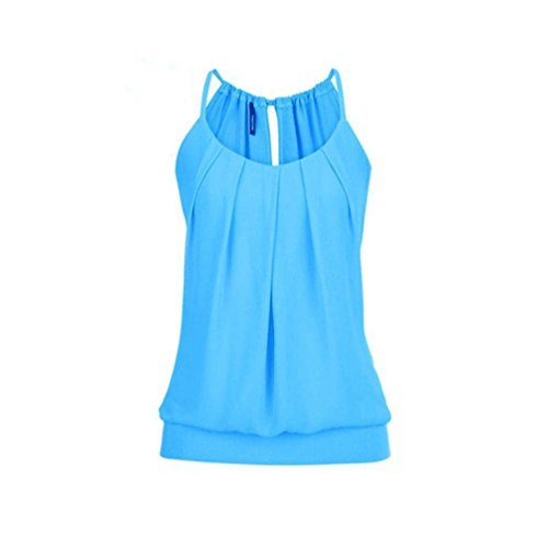 VEMOW Elegante Damen Frauen Mädchen Sommer Lose Runzeln O Neck Cami Tank Tops Weste Bluse T-Shirt Pullover T-stücke Pulli(Blau, 38 DE/L CN)