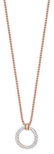 ESPRIT Glamour Damen-Kette mit Anhänger ES-PERIBESS ROSE teilvergoldet Zirkonia transparent 42 cm - ESNL03009C420