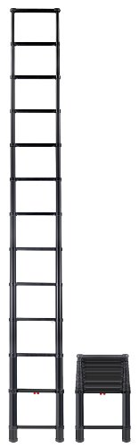 Telesteps 1600ET The World's Only Fully Automatic Telescoping Ladders, with Patented One-Touch Release, OSHA Compliant Black Tactical 12.5 ft Extended Height, Up to 16 ft Reach may be possible, Telescoping Extension Ladder