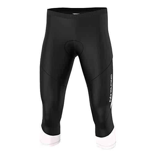 FDX - Pantaloni da ciclismo da uomo, di qualità, 3/4, con imbottitura in gel anti bac, colore: nero/bianco, taglia XL