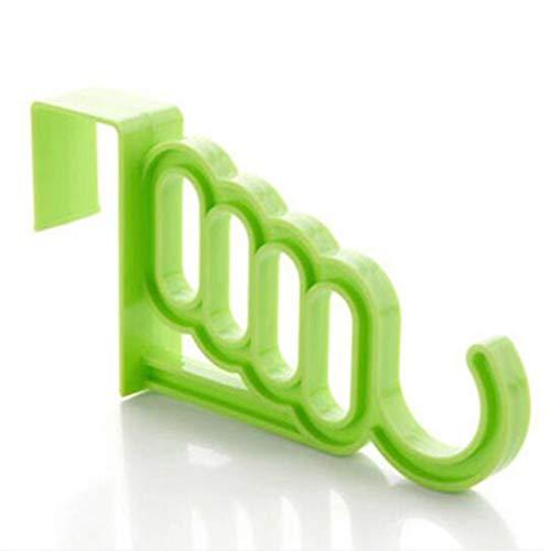 HJ ドアハンガー 5連ドアフック ウォールハンガー 壁掛けフック タオル掛けフック クローゼット扉 (緑)