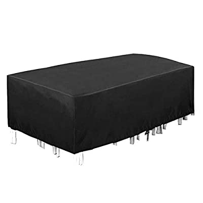 KXT Outdoor Patio Furniture Covers Extra Large 420D Oxford Patio Furniture Set Covers,350X260X90cm, Waterproof, Rain Snow Dust Wind-Proof, Anti-UV (Black, 137''X102''X35'')