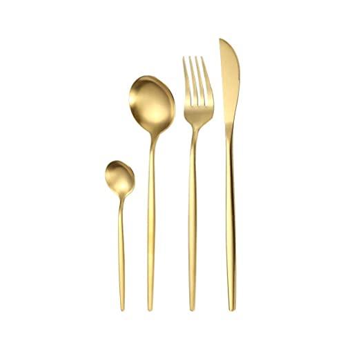 OUDEING Set De Cubiertos De 6 Piezas Los Cubiertos de 24/16 Piezas Incluyen el Cuchillo/la Horquilla de la Cena/la Cena de la Cena/cucharadita, lavavajillas Seguro-Golden 20pcs