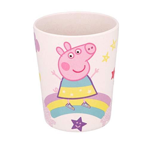 Theonoi Vaso para niños de 270 ml, vaso de cristal de bambú, sin BPA, respetuoso con el medio ambiente, reutilizable (Peppa Pig.
