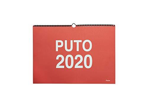 Fisura Calendario Pared 'Puto 2020' 12 meses. Un mes por página. Formato Grande A3. 42x30cm (Español)