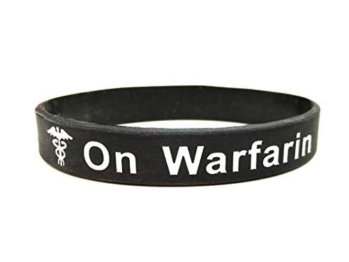 On Warfarin pulsera de silicona para alerta médica de emergencia. En blanco y negro pulsera con texto en inglés. 202mm. By Butler & Grace