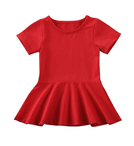 Summer Clothes Short Sleeve One-Piece Dress Ruffle Hem Short Skirt Solid Princess Dresses (red, 6-12 Months)