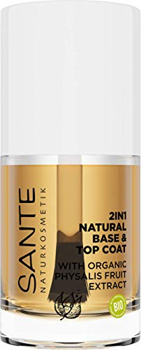 SANTE Naturkosmetik 2in1 Natural Base & Top Coat, Über & Unterlack, Mit Bio-Physalisfruchtextrakt, Vegan, 10ml