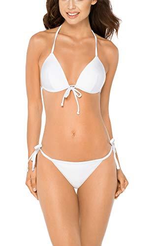 RELLECIGA Damen Bademode Push-up Triangel Bikini Set Unterteil im Brasil-Style Weiß S