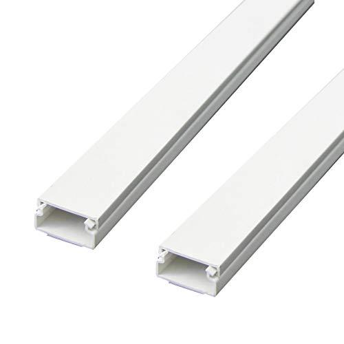 Electraline TRE31748 60775 Tubo Copricavi | Canalina Passacavi Pavimento | 2 Pezzi 20 x 10 mm-1 m Lunghezza (2x1metro) -Bianco