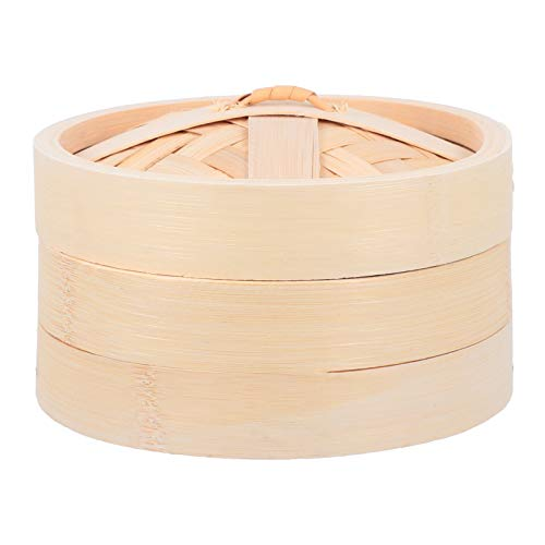 DOITOOL Bamboo Steamer Deep Handmade Steam Baskets Pot Food Cooking Steaming Cookware with Lid for Vegetable Soup Seafood Pastry Buns Rice Dumpling Fish 18cm