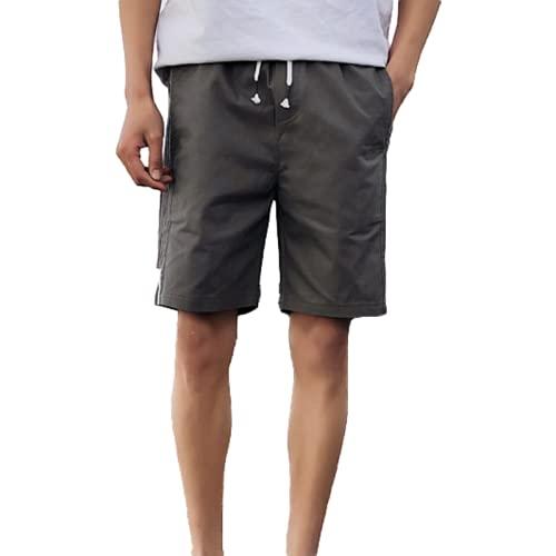 Katenyl Pantalones Cortos de Cintura elástica para Hombre Costura a Rayas Moda Suelta Tendencia Todo-fósforo Pantalones Cortos de Playa de Talla Grande con cordón L