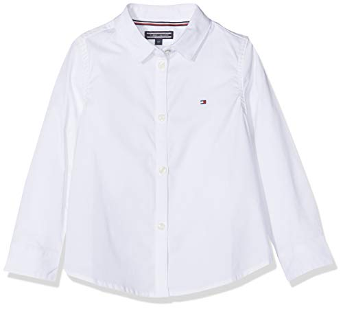 Tommy Hilfiger Mädchen Girls Stretch Poplin Shirt L/S Bluse, Weiß (Bright White 123), 164 (Herstellergröße: 14)