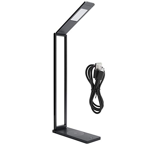 Lámpara de mesa ajustable, interruptor táctil de carga inalámbrica FoldableLight Lámpara de escritorio LED plegable con carga USB para estudio para dormitorio para dormitorio