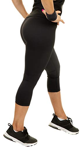 CompressionZ Compression Capri Leggings for Women - Yoga Capris, Running Tights, Gym - High Waisted Pants (Black, XS)