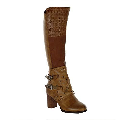 Angkorly - Damen Schuhe Oberschenkel-Boot Stiefel - Reitstiefel Kavalier - Biker - Flexible - Nieten-Besetzt - Schlangenhaut - Schleife Blockabsatz high Heel 8 cm - Camel F3028 T 38