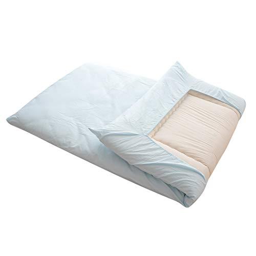 エムール ワンタッチシーツ プレッソ セミダブル ブルー 日本製 綿100% 丸洗い 周囲ゴムフィット式 簡単着脱 肌に優しい