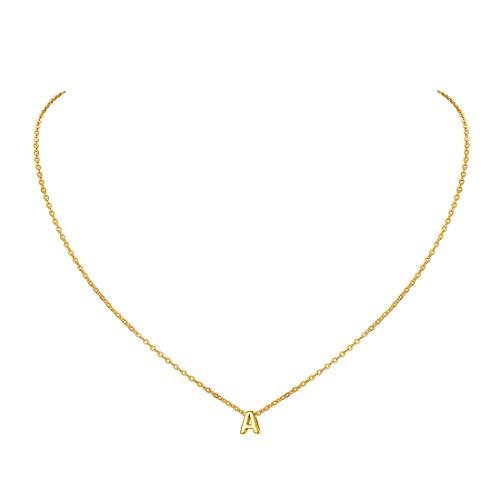 ChicSilver Alfabeto 26 Letras Iniciales Plata de Ley 925 Platino y Oro 18K Collar Elegante para Mujeres y Muchachas Superficie Brillante