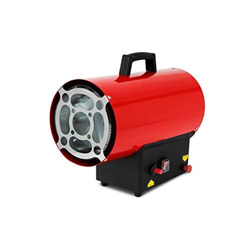 EBERTH 15 kW Direkt-Gasheizgebläse (inkl. Gasschlauch und Druckregler, Überhitzungsschutz, integriertes Thermostat, Piezozündung 230 V, Gasventil mit Flammenkontrolle, Tragegriff)
