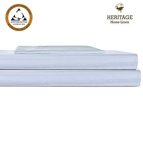 Heritage Home Linen Bettwäsche-Set für Haus und Hotel, Fadenzahl 800, ägyptische Baumwollmischung, Satin, gewebter Saum für Haus und Hotel, Tiefe Taschen bis 45,7 cm, für Nadelstreifen, silberfarben