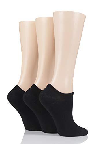 Glenmuir Damen 3 Paar Pringle Einfarbige & gemusterte Bambus-Sneaker Socken (37-41, Schwarze)