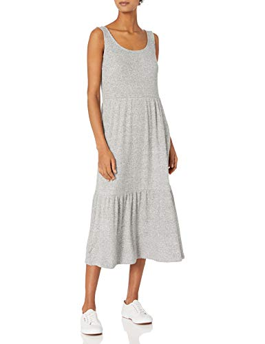 Amazon Brand - Daily Ritual Women's Standard-Fit Cozy Knit Rib Tiered Tank Dress, Heather Grey Marl, X-Large (Apparel)