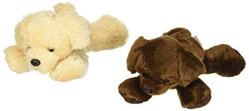 "Bundle of 2 Aurora 8"" Floppy Beanbag Dog Stuffed Animals - Golden Retreiver and Lil Lucky Chocolate Labrador"