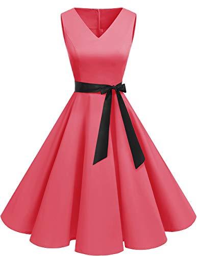 bridesmay 1950er V-Ausschnitt Kleid Vintage Cocktailkleid Rockabilly Retro Schwingen Kleid Faltenrock Blush-L