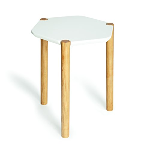 UMBRA Lexy Table. Table d'appoint Lexy. En bois coloris naturel et assise laquée blanc. Dimension 41x48x37cm