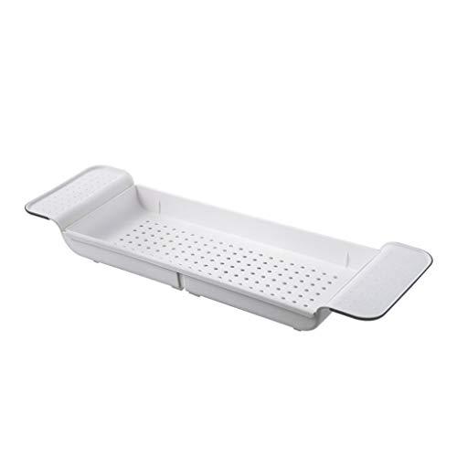 Museourstyty - Bandeja de plástico antideslizante para bañera o ducha, soporte de almacenamiento de jabón, accesorios de cocina y baño blanco
