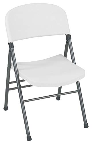 Cosco Resin Folding Chair with Molded Seat and Back White Speckle (4-Pack)