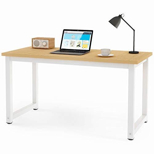 Mesa de escritorio de diseño simple y moderno para ordenador portátil, mesa de trabajo para espacio pequeño, para casa, oficina, mesa de escritura de 120 cm (madera natural)