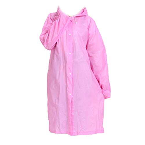 Vrouwen mannen EVA Transparent Raincoat Portable Outdoor Travel Regenkleding Waterproof Camping Hooded Ponchos Plastic Rain Cover,Thick pink