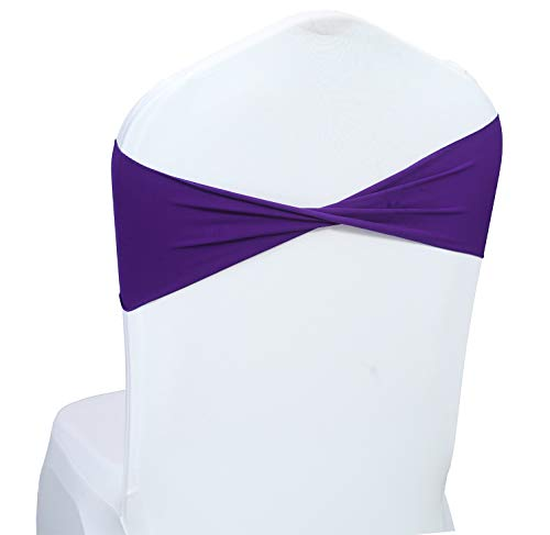 mds Pack of 50 Spandex Chair Sashes Bow sash Elastic Chair Bands Ties Without Buckle for Wedding and Events Decoration Lycra Slider Sashes Bow - Cadbury Purple