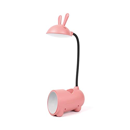 KLFD LED Protección para Los Ojos Luz Nocturna Forma De Conejo Lámpara De Escritorio Carga USB Luz De Lectura Estudiantes del Dormitorio con Portalápices Espejo Lámpara De Mesa Táctil,Rosado