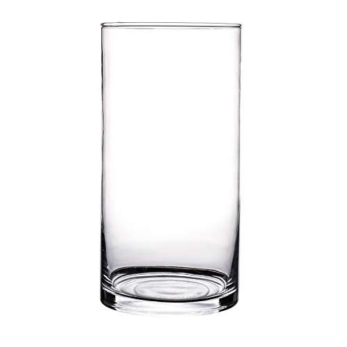 KnikGlass Glasvase, Blumenvase Glas, Vase Glas Deko Blumenvase, Transparent Vase (Transparent A, Höhe 25cm Durchmesser 12cm)