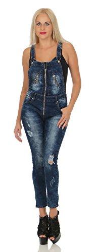 Fashion4Young 11404 Damen Latzjeans Latzhose Latz Jeans Röhrenjeans Jeanslatzhose Hose m. Trägern (XS/34, blau)
