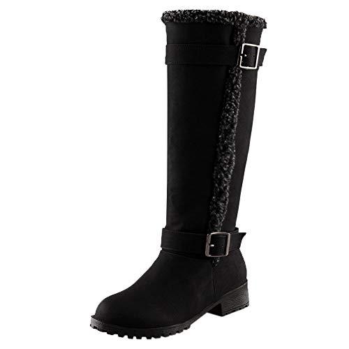 TUDUZ Damen Winter Warm Schneestiefel Warm Plüsch Winter Kniehohe Stiefel