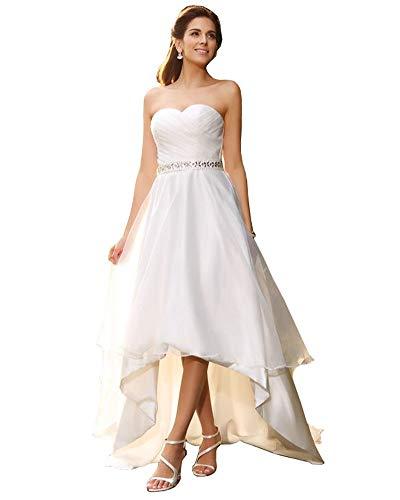 NUOJIA Damen Schlicht Satin Brautkleider Hochzeitskleider Hoch niedrig Standesamt Strand Trägerlos Elfenbein 40