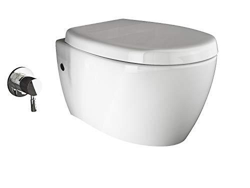 Aqua Bagno | Taharet WC | Inkl. Softclose WC-Sitz | Dusch-WC | Hänge-WC | Toilette mit Bidet-Funktion | Tiefspülklosett | Keramik | Spülrandlos | 510 x 363 mm