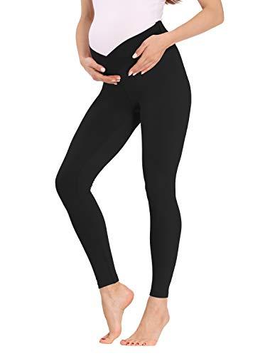 Kegiani Maternity Leggings Active Underbelly Print Pants Pregnancy Low Rise Postpartum Breastfeeding Nursing Black