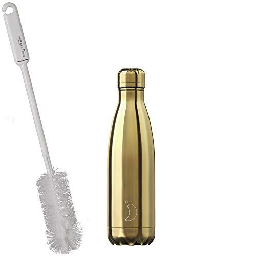 CHILLYs Trinkflasche & Isolierflasche Chrome Gold Bottle - Edelstahl Thermos Wasserflasche - Flasche hält 24 Std. kalt & 12 Std. heiß + SCHARFsinnig Flaschenbürste