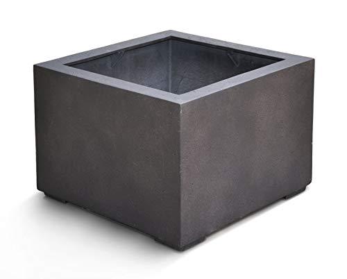 VAPLANTO® Pflanzkübel Low Cube 80 Espresso Anthrazit Quadratisch XL * 80 x 80 x 60 cm * 10 Jahre Garantie