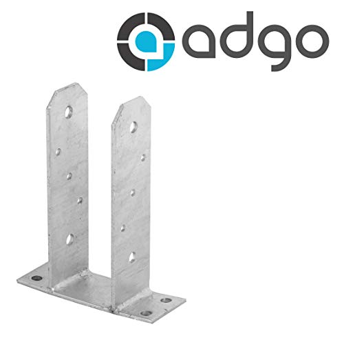 ADGO® Base Post Beugel 70 mm Hek Post Schroef hot dip Gegalvaniseerd Schuifhoes Mouw Beugel Ondersteuning Floor Sleeve Slide-in Floor Sleeve Steel Base Zilver