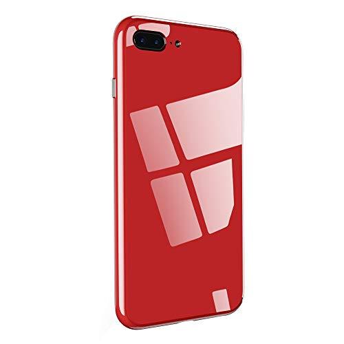 Compatibile / Ricambio per iPhone 7 Plus / iPhone 8 Plus Cover Vetro Temperato Custodia Full Schermo con Adsorbimento Magnetico Metallo Bumper Cornice per iPhone 7 Plus / iPhone 8 Plus (Rosso)