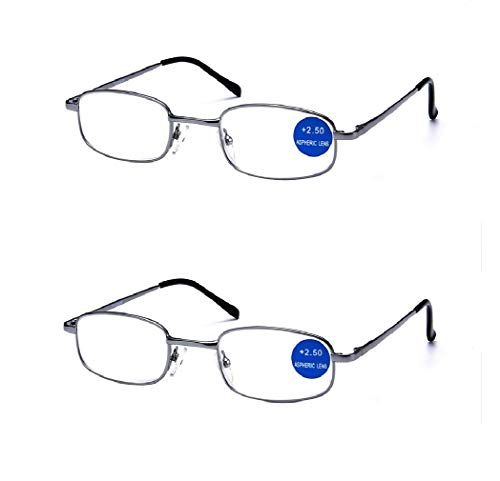 Impeccable Metal Frame Anti Blue Light - Viscare 2-Pack Men Women Spring Hinged Full Anti Blue Light Reading Glasses Readers w/ 2 Pouches 1 Cloth +2.50